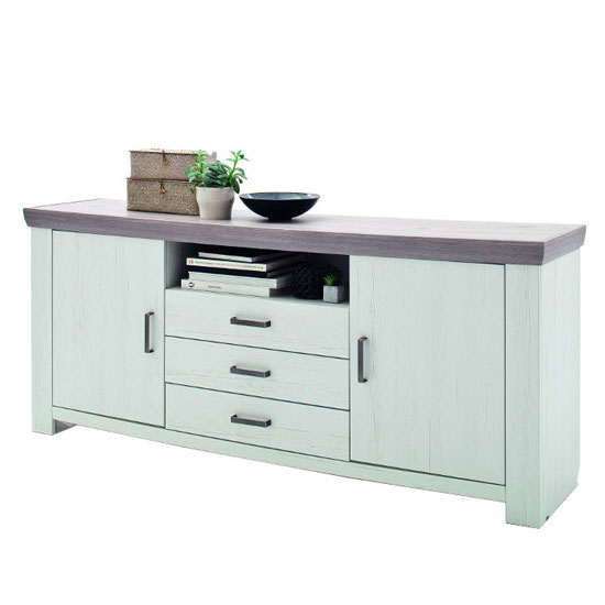Bozen Wooden 2 Doors Sideboard In Pine And White With 3 Drawers