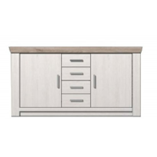Bozen Wooden 2 Doors Sideboard In Pine And White With 4 Drawers