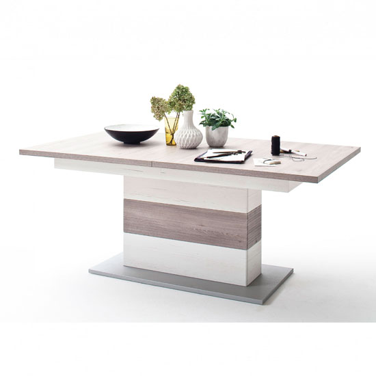 Bozen Wooden Extending Dining Table In Pine And White