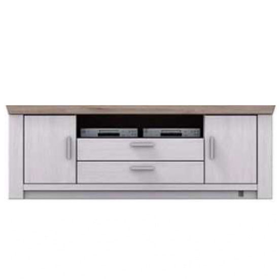 Bozen Wooden Large TV Unit In Pine And White