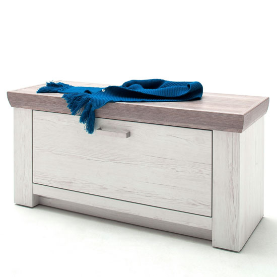 Bozen Wooden Shoe Storage Bench In Pine And White