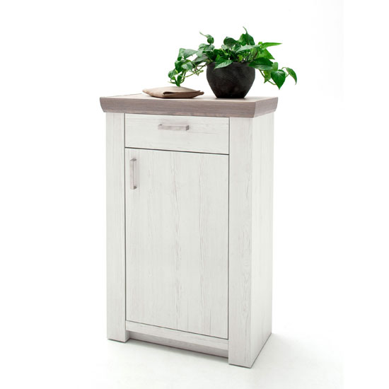 Bozen Wooden Storage Cabinet In Pine And White With 1 Door_1