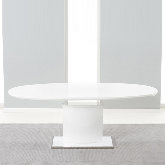 Bozen Extendable Dining Table Oval In White High Gloss
