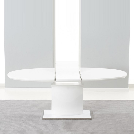 Bozen Extendable Dining Table Oval In White High Gloss_2