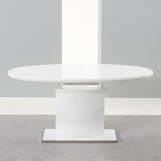 Bozen Extendable Dining Table Oval In White High Gloss_3