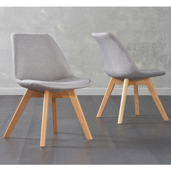 Brachium Light Grey Fabric Dining Chairs In Pair