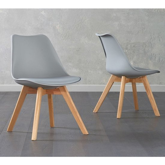 Brachium Light Grey Faux Leather Dining Chairs In Pair