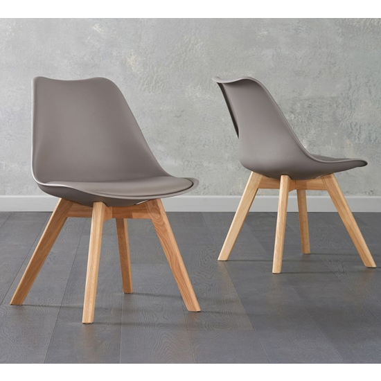 Brachium Taupe Faux Leather Dining Chairs In Pair