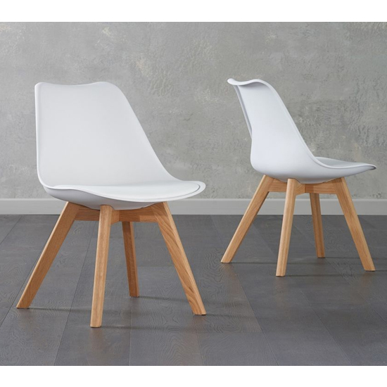 Brachium White Faux Leather Dining Chairs In Pair