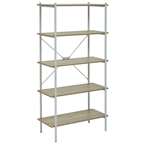 Bradken 5 Tier Home And Office Shelving Unit In Natural Oak