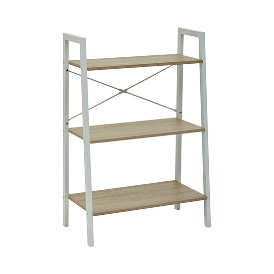 Product photograph showing Bradken 3 Tier Home And Office Shelving Unit In Grey Oak