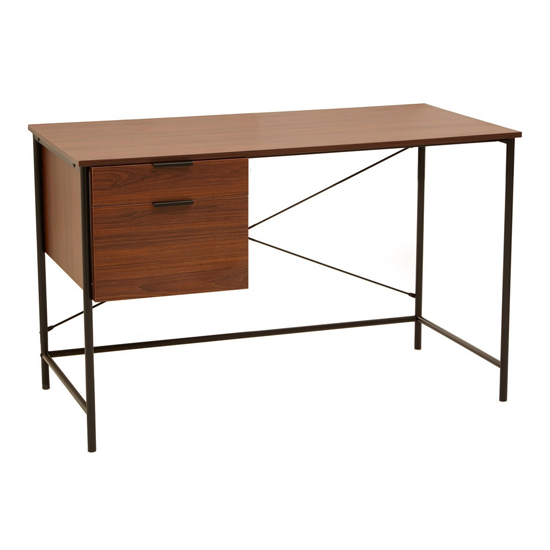 Bradken Wooden 2 Drawers Computer Desk In Walnut