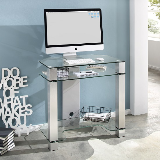 Bradmoor Glass Computer Desk With Brushed Metal Frame