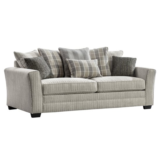 Braemar Fabric 3 Seater Sofa In Beige With Scatter Cushions