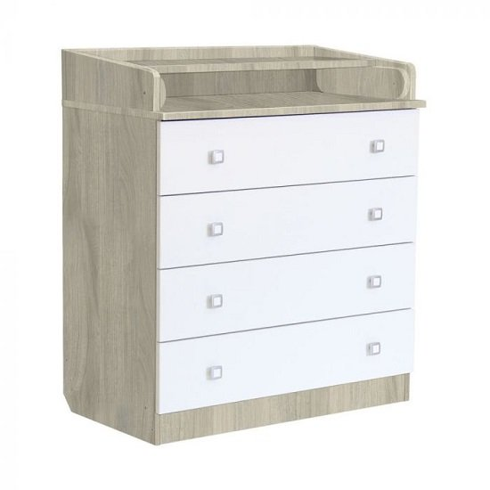 Braize Wooden 4 Drawers Chest With Changing Top In Elm And White_1