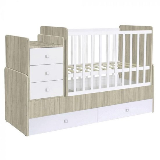 Braize Children Cot Bed In Elm And White With Storage