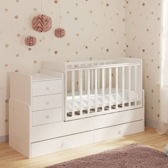 Braize Children Cot Bed In White With Storage And Changing Top