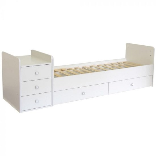 Braize Children Cot Bed In White With Storage And Changing Top_3