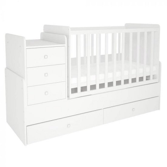 Braize Children Cot Bed In White With Storage And Changing Top_2