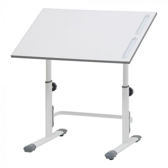 Braize Height Adjustable Study Desk In White And Grey_1