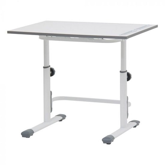 Braize Height Adjustable Study Desk In White And Grey_2