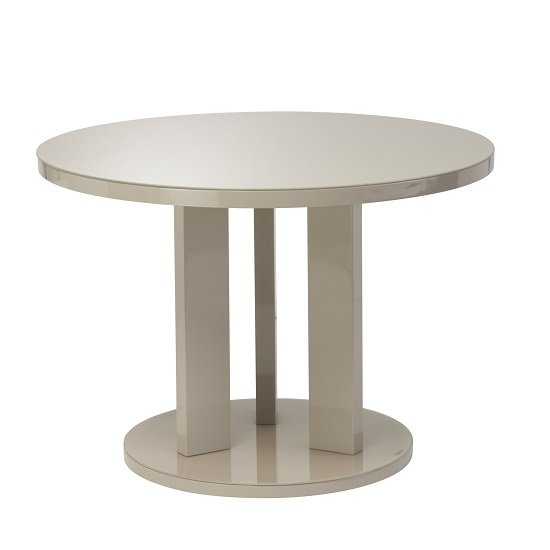Brambly Glass Dining Table Round In Latte And High Gloss