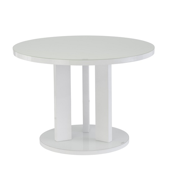 Brambly Glass Dining Table Round In White And High Gloss