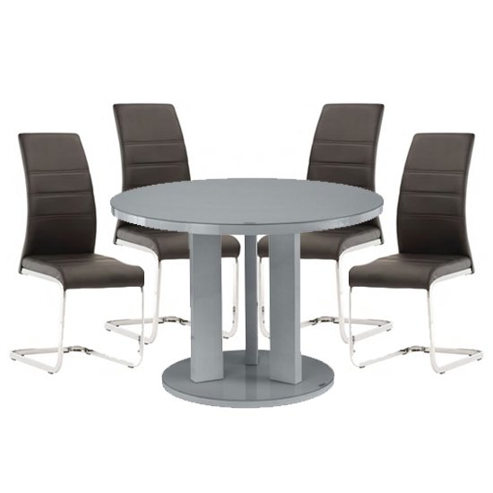 Brambly Grey Gloss Glass Dining Table And 4 Soho Black Chairs