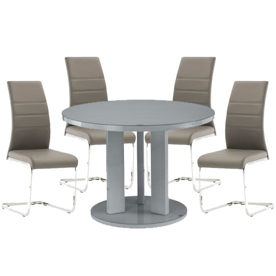 Brambly Grey Gloss Glass Dining Table And 4 Soho Grey Chairs_1