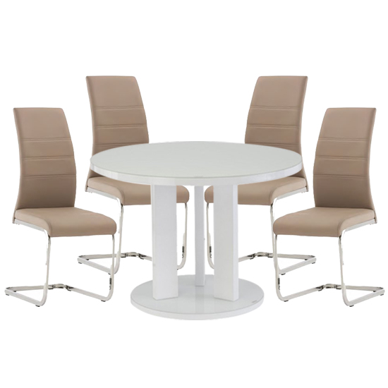 Brambly White Gloss Glass Dining Table 4 Soho Cappuccino Chairs