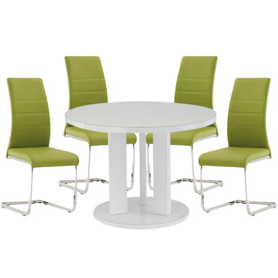 Brambly White Gloss Glass Dining Table And 4 Soho Green Chairs