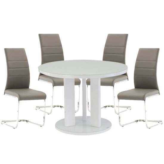 Brambly White Gloss Glass Dining Table And 4 Soho Grey Chairs