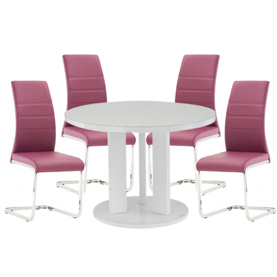 Brambly White Gloss Glass Dining Table And 4 Soho Purple Chairs