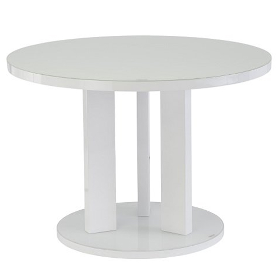 Brambly White Gloss Glass Dining Table And 4 Soho White Chairs_2