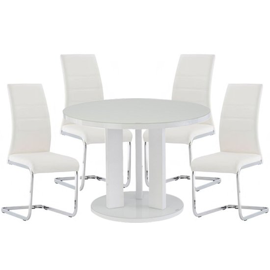 Brambly White Gloss Glass Dining Table And 4 Soho White Chairs_1