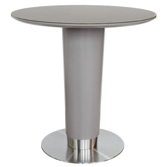 Bramby Glass Bar Table Round In Grey With Stainless Steel Base