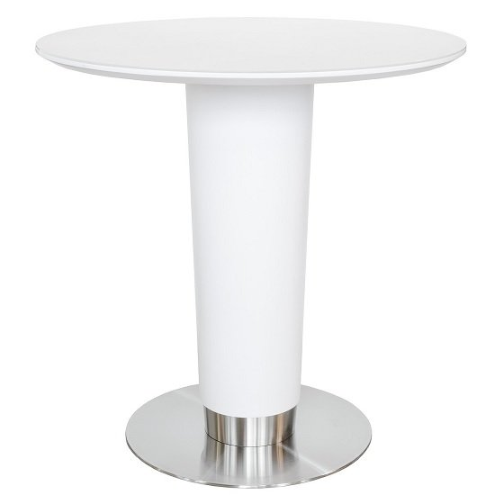 Bramby Glass Bar Table Round In White With Stainless Steel Base