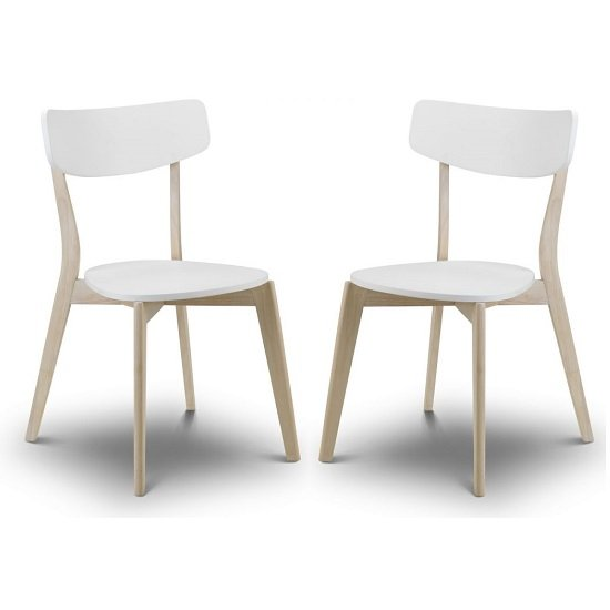 Bramley Dining Chairs In White With Oak Effect Legs In A Pair_1