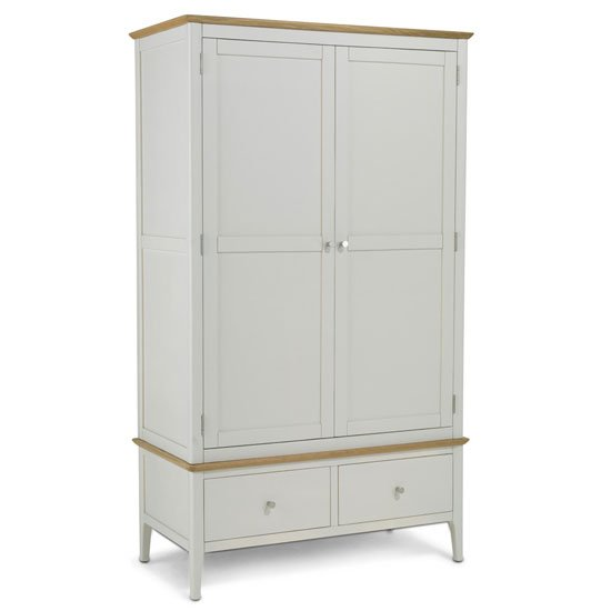 Brandy Double Door Wardrobe In Off White And Oak With 1 Drawer