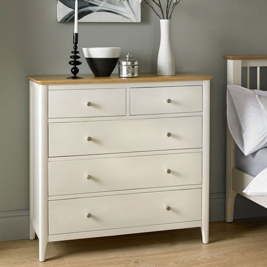 Brandy Wide Chest Of Drawers In Off White And Oak With 5 Drawers