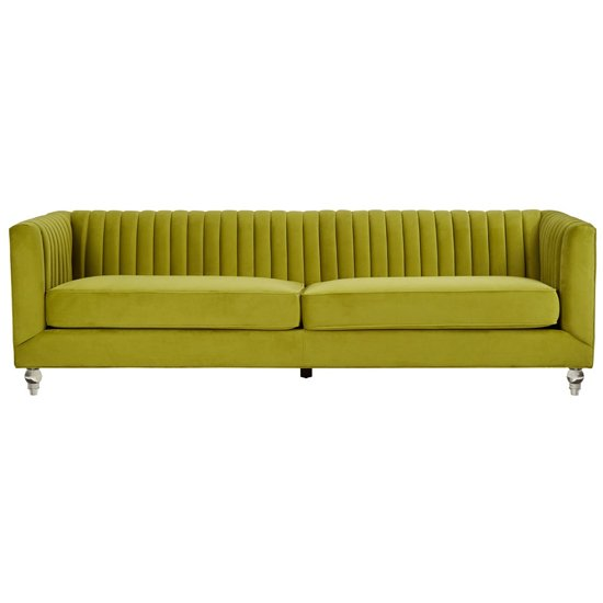 Aljanah Velvet 3 Seater Sofa In Green     _1