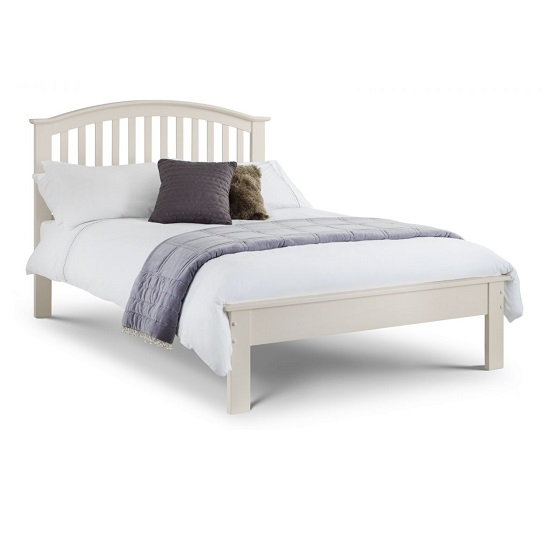 Brashear Wooden Double Size Bed In Stone White Lacquer