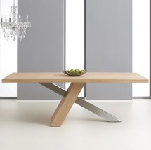 Bravo Wooden Large Dining Table Rectangular In Oak And Metal