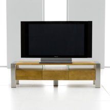 Bravo Wooden TV Stand In Oak With Brushed Metal Legs