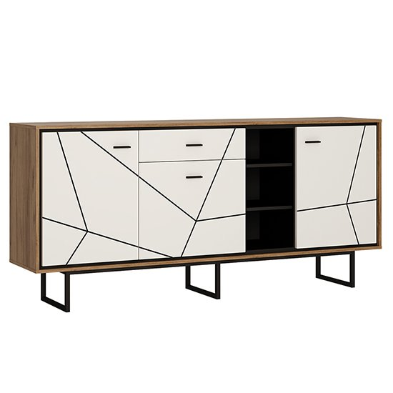 Brecon Wooden Wide Sideboard In Walnut And White High Gloss