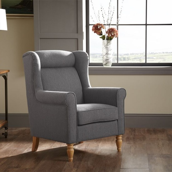 Brecon Fabric Lounge Chair In Grey With Wooden Legs_1