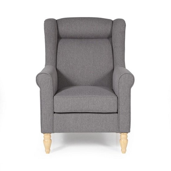 Brecon Fabric Lounge Chair In Grey With Wooden Legs_2