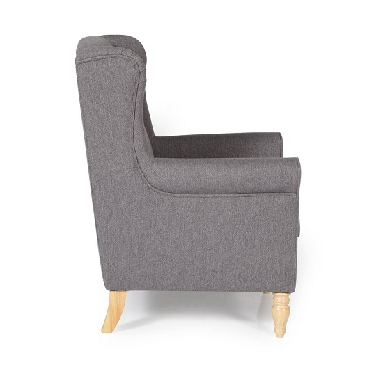 Brecon Fabric Lounge Chair In Grey With Wooden Legs_3