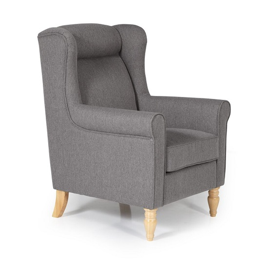 Brecon Fabric Lounge Chair In Grey With Wooden Legs_4