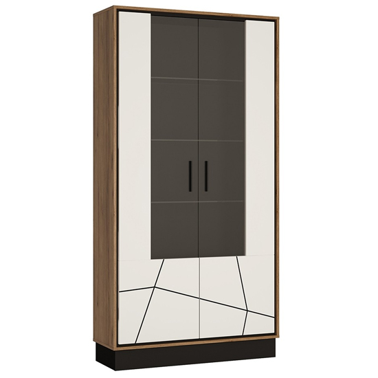 Brecon Wooden Display Cabinet In Walnut And White High Gloss
